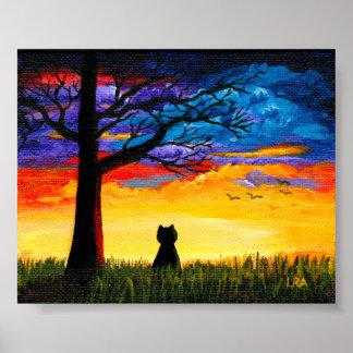 Bunter Wolken-Landschaftsbaum-schwarze Katze Poster
