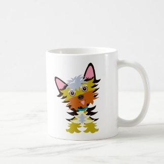 Bunter Yorkshire-Terrier-Kopf-Neigungs-Cartoon Kaffeetasse