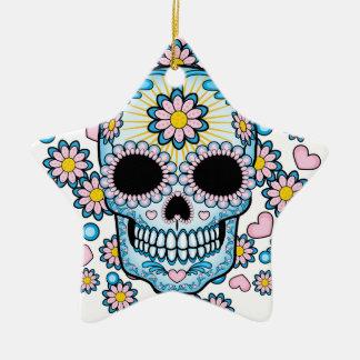 Bunter Zuckerschädel Keramik Ornament