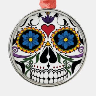 Bunter Zuckerschädel Silbernes Ornament