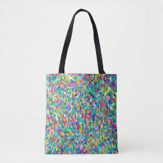 Buntes abstraktes blaues und lila Gitter Tasche