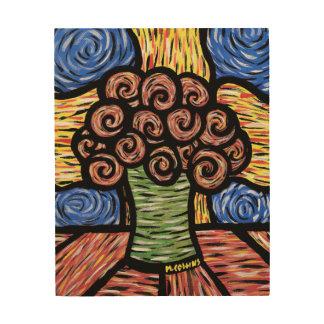 Buntes abstraktes Blumen-noch Leben Holzleinwand