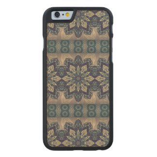 Buntes abstraktes ethnisches Blumenmandalamuster Carved® iPhone 6 Hülle Ahorn