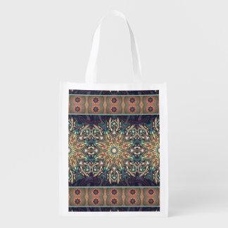 Buntes abstraktes ethnisches Blumenmandalamuster Wiederverwendbare Einkaufstasche