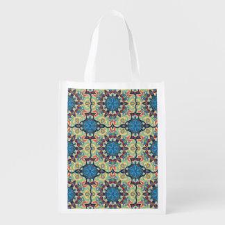 Buntes abstraktes ethnisches Blumenmandalamusterde Wiederverwendbare Einkaufstasche