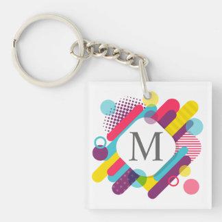 Buntes abstraktes geometrisches Monogramm Keychain Schlüsselanhänger