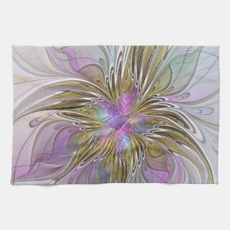 Buntes abstraktes mit BlumenFraktal mit Rosa u. Handtuch