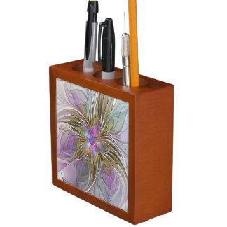 Buntes abstraktes mit BlumenFraktal mit Rosa u. Stifthalter