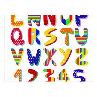 buntes Alphabet Postkarte