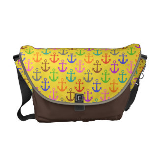 Buntes Anker-Muster-Retro See Kuriertasche