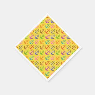 Buntes Anker-Muster-Retro See Papierserviette