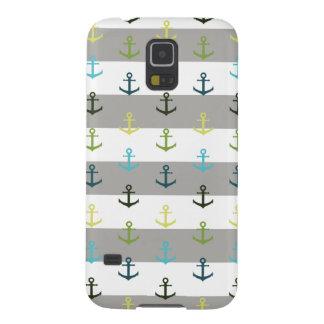 Buntes Ankermuster auf stripy Hintergrund Hülle Fürs Galaxy S5