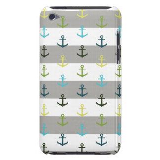 Buntes Ankermuster auf stripy Hintergrund iPod Touch Case-Mate Hülle