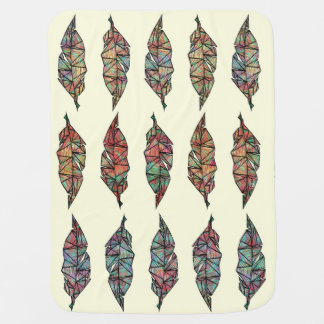 Buntes Aquarell gemalte geometrische Federn Babydecke