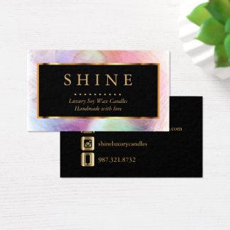 Buntes Aquarell und Gold Visitenkarte
