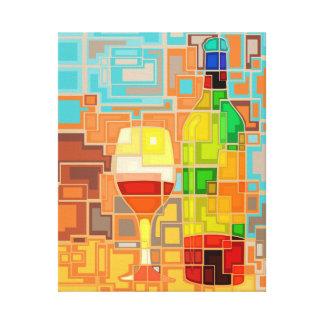 Buntes Aquarell von ein Wein Flaschen u. Glas Leinwanddruck