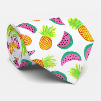 buntes Aquarellananas-Wassermelonemuster Krawatte