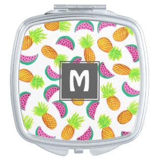 buntes Aquarellananas-Wassermelonemuster Taschenspiegel