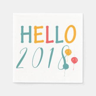 Buntes Ballone Party hallo 2018 neuen Jahres Papierserviette