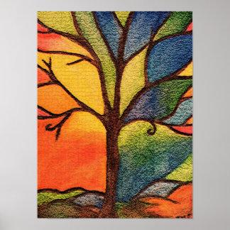 Buntes Baum-Buntglas-Effekt-Plakat Poster