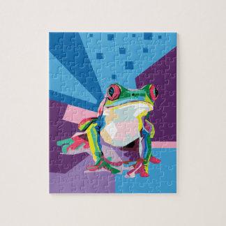 Buntes Baum-Frosch-Porträt Puzzle