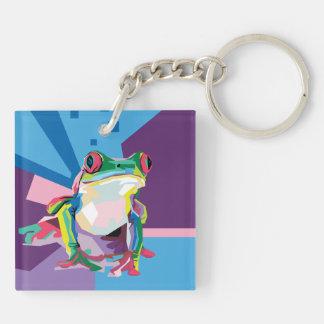 Buntes Baum-Frosch-Porträt Schlüsselanhänger