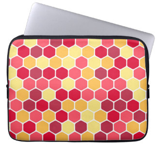 Buntes Bienenwaben-Hexagon-Muster Laptopschutzhülle