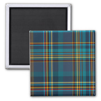 Buntes blaues kariertes Muster Quadratischer Magnet