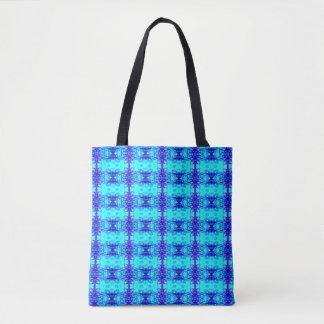 Buntes blaues NeonKönigsblau-Stammes- Muster Tasche
