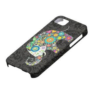 Buntes Blumen Elefanten-Design Retro iPhone 5 Etui