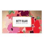 Buntes Blumen, Goldeleganter Schönheits-Salon Visitenkarten