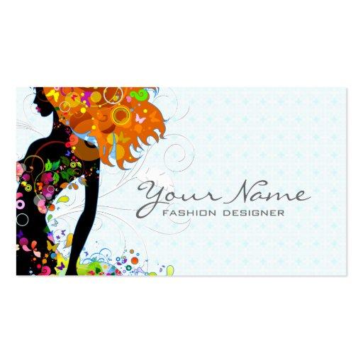 Buntes Blumen-Mädchen Visitenkarten Vorlage