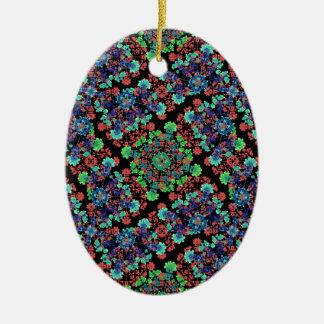 Buntes Blumencollagen-Muster Keramik Ornament