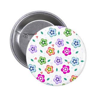 Buntes Blumenmuster Runder Button 5,1 Cm