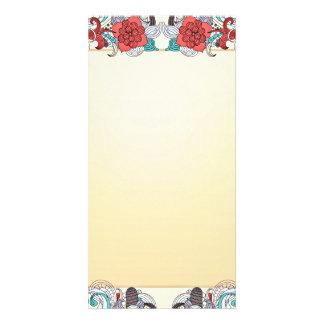 Buntes Blüten- und Damasthochzeitsgeschenk Photo Grußkarte