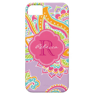 Buntes böhmisches Paisley-Gewohnheits-Monogramm Barely There iPhone 5 Hülle