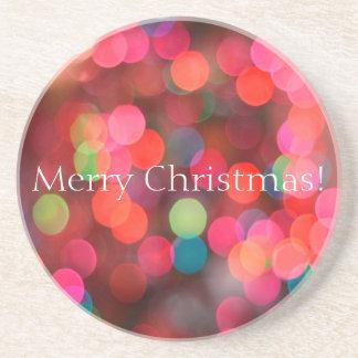 Buntes Bokeh beleuchtet frohe Weihnacht-Gruß Sandstein Untersetzer