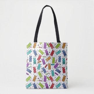 Buntes Cartoon-Flusspferd-Muster Tasche