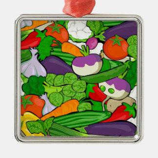Buntes Cartoon-Gemüse Silbernes Ornament