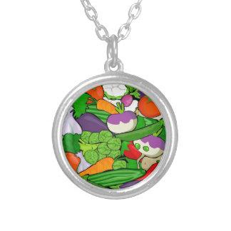 Buntes Cartoon-Gemüse Versilberte Kette