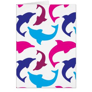 Buntes Delphin-Muster-heißes Rosa-aquamarines Blau Karte