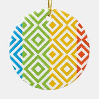 Buntes Diamant-Muster Keramik Ornament
