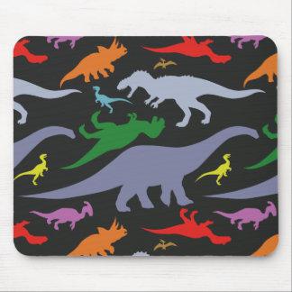 Buntes Dinosaurier-Muster (dunkel) Mauspads