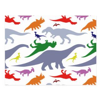 Buntes Dinosaurier-Muster (Licht) Postkarte