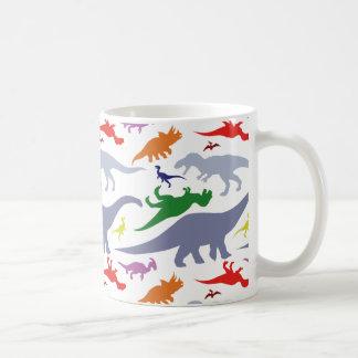 Buntes Dinosaurier-Muster (Licht) Tasse