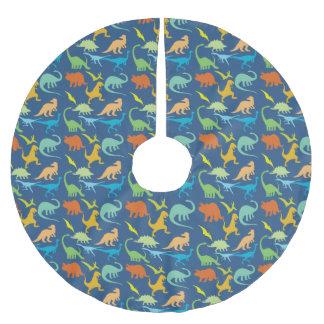 Buntes Dinosaurier-Muster Polyester Weihnachtsbaumdecke