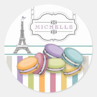 Buntes Eiffelturm-Monogramm Paris Macarons Runder Aufkleber