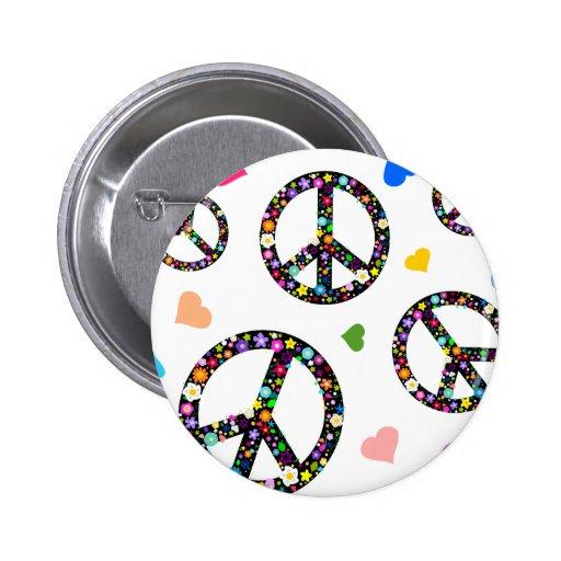 Buntes Friedenssymbol, -Blumen und -herzen Button