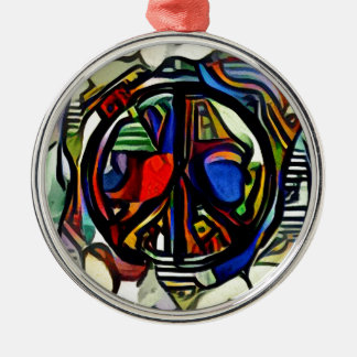Buntes Friedenssymbol Silbernes Ornament