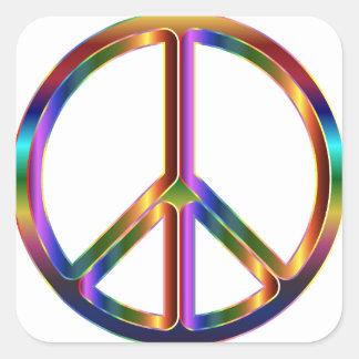 Buntes Friedenszeichen Quadratischer Aufkleber